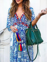 Load image into Gallery viewer, Casual Sexy V-neck Print Short-sleeved Tassel Strap Long Dress