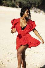 Load image into Gallery viewer, Red Bandage Blouse Beach Holiday Mini Dress