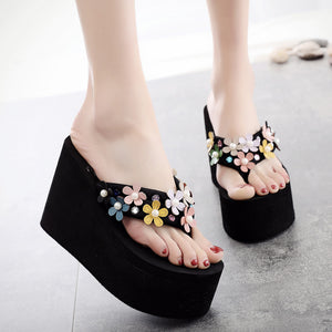 Floral High Heeled Cotton Peep Toe Beach Casual Slippers