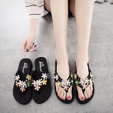 Load image into Gallery viewer, Floral High Heeled Cotton Peep Toe Beach Casual Slippers