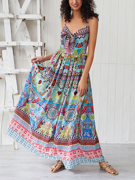 Bohemian Printed Sling Long Dress