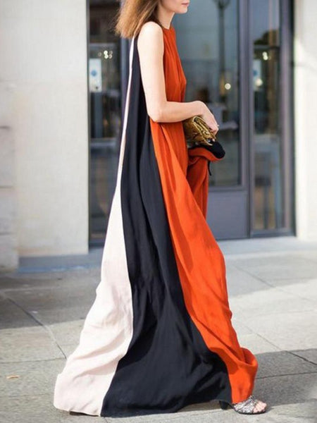 Two-way Bohemian Colorblock Sleeveless Long Dress