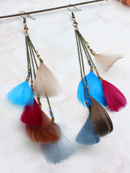 Natural Feather Tassel Retro Earrings