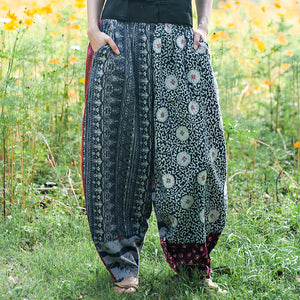 Ethnic Style Printed Stitching Wide-leg Pants