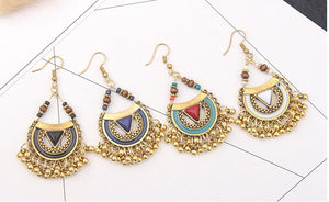 Ethnic Style Retro Metal Ball Tassel Earrings
