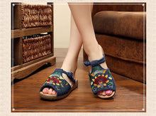 Load image into Gallery viewer, Ethnic Style Wedge with Non-slip Fish Mouth Type Embroidered Sandals and Slippers