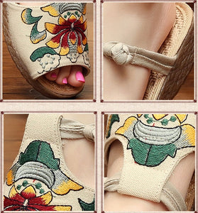 Ethnic Style Wedge with Non-slip Fish Mouth Type Embroidered Sandals and Slippers