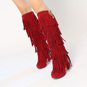 Fringed boots 32-43 large size women s Boots high-heeled waterproof multi-layer tassel high boots