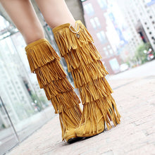 Load image into Gallery viewer, Fringed boots 32-43 large size women s Boots high-heeled waterproof multi-layer tassel high boots