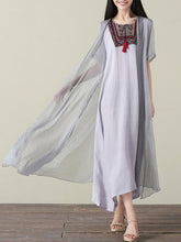 Load image into Gallery viewer, Casual Inwrought Printed Round Neck Short Sleeve Beach Maxi Dress