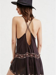 2018 new arrival Bohemian sleeveless embroidered flower sexy strap halter dress