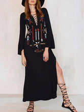 Load image into Gallery viewer, Beautiful Black Bohemia Embroidery Long Sleeve Side Split Maxi Beach Dress