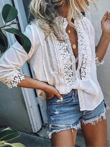 Casual Solid Color Cotton Lace Patchwork Blouses Tops
