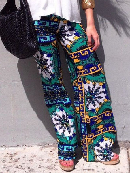 Summer Print Trousers Casual Straight Pants