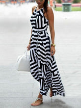 Load image into Gallery viewer, Sexy Stripe Sleeveless Irregular Maxi Dress