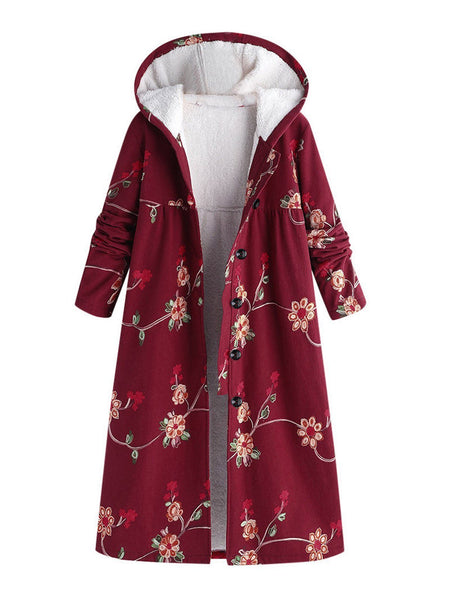 Floral Printed Long Hoodie Coat Outwear