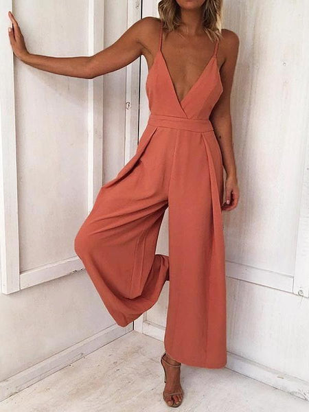 Sexy Spaghetti Strap Solid Color Wide Leg Pants Jumpsuit Rompers