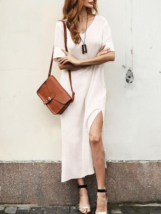 Solid Color Short Sleeve Split Dress