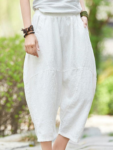 Vintage Solid Color High Waist Linen Cotton Pants