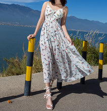 Load image into Gallery viewer, 2018 New Floral Print Spaghetti Strap Split Chiffon Beach Maxi Dress