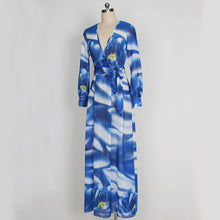 Load image into Gallery viewer, Elegant Chiffon Printed V Neck Long Sleeve Belted Maxi Long Dress