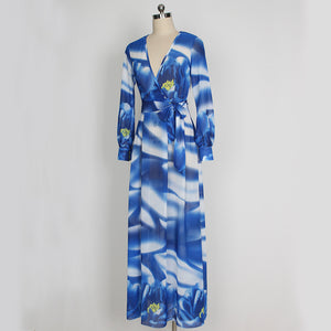Elegant Chiffon Printed V Neck Long Sleeve Belted Maxi Long Dress