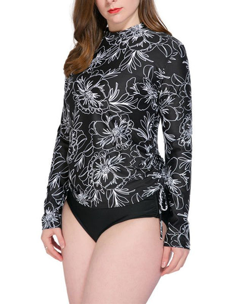 Long-Sleeved Conservative Plus-Size Covered Belly Split Sunscreen Swimsuit