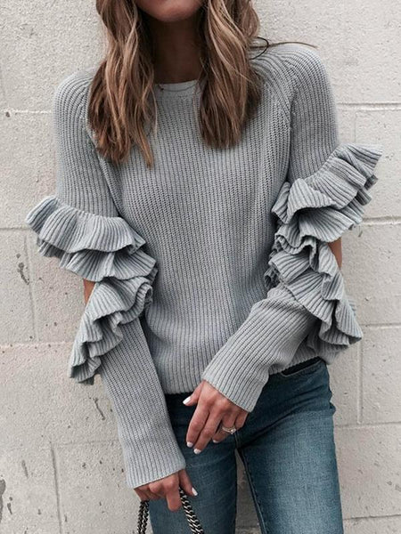 Casual Ruffles Hollow Out Long Sleeve Loose Pullover Sweater Jumper
