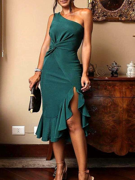 Solid Color One Off Shoulder Irregular Bodycon Mini Dress