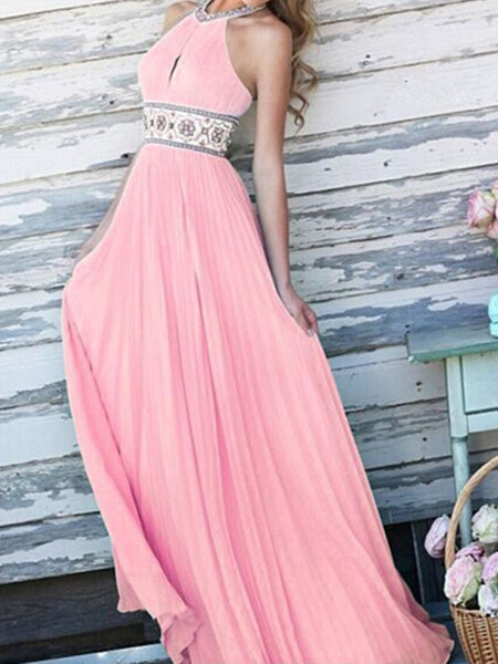 Sexy pleated Halter waist retro embroidery in the long dress