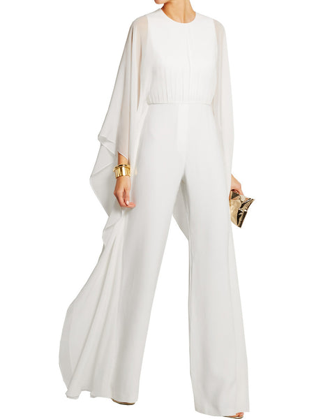 Round Neck Long Sleeve Wide Leg Pants Solid Color Jumpsuit Romper