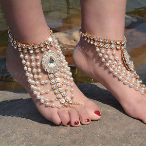 Vintage ethnic style exaggerated full of water drops gem pearl tassel anklets