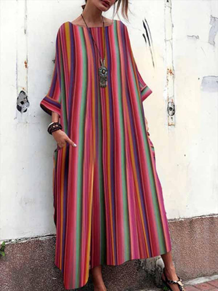 Colorful Stripe Pockets Loose Casual Maxi Dress