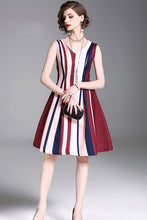 Load image into Gallery viewer, Stripe V Neck Sleeveless New Mini Dress