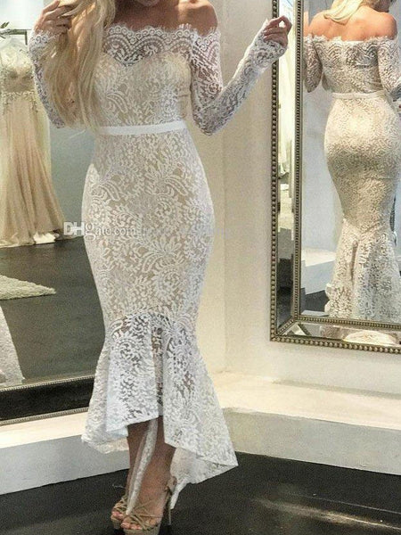 Lace Off Shoulder Long Sleeve Irregular Evening Maxi Dress
