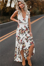 Load image into Gallery viewer, Sexy dress sleeveless V-neck print irregular long dress