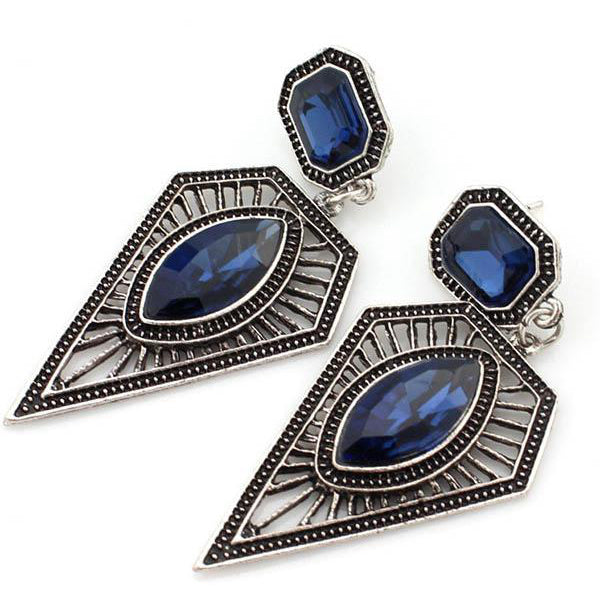 Bohemian Vintage Ethnic Earrings Triangle Water Drops Gemstone Earrings