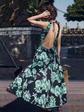 Load image into Gallery viewer, Floral Sleeveless Split Beach Maxi Dress