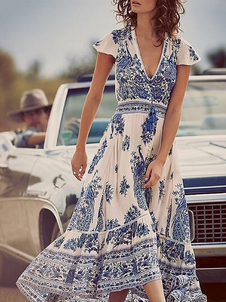 Printed V Neck Short Sleeve Vintage Beach Bohemia Maxi Dress