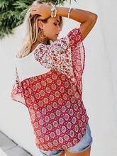 Load image into Gallery viewer, Boho Printed Geometric Irregularity Short-Sleeved Blouse Tops