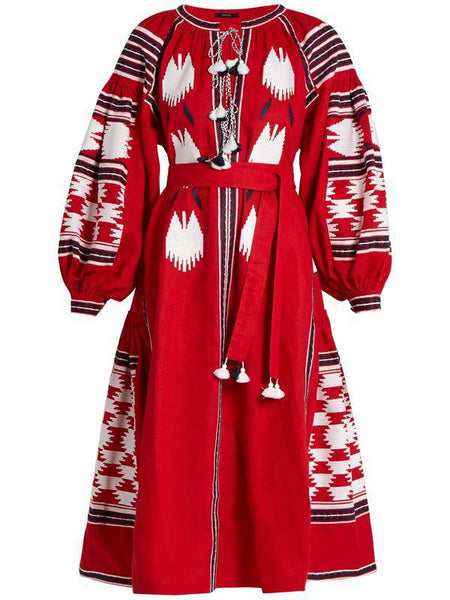 Bohemian stripes heavy geometric embroidery tassels linen in the long section of the dress