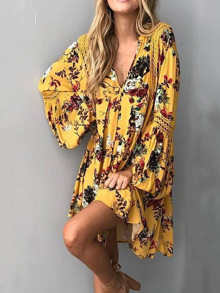 2eee4e046d4 Flower Print V Neck Long Sleeve Bohemia Mini Dress ...