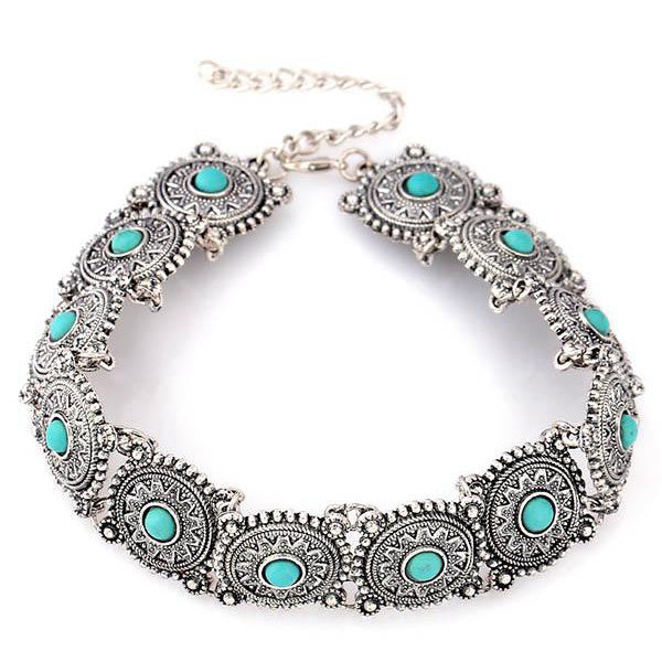 Europe Personality Short Paragraph Retro Turquoise Necklace