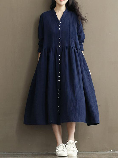 Vintage Button Linen Cotton Long Sleeve Midi Dress