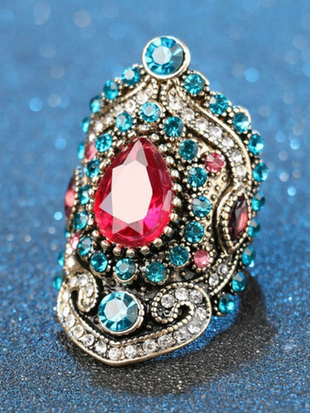 Retro Bohemia Crystal Ruby Gemstone Ring