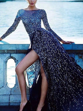 Load image into Gallery viewer, Dendritic Overlapping Split-side Embroidery Sequin Long Sleeves Evening Dress