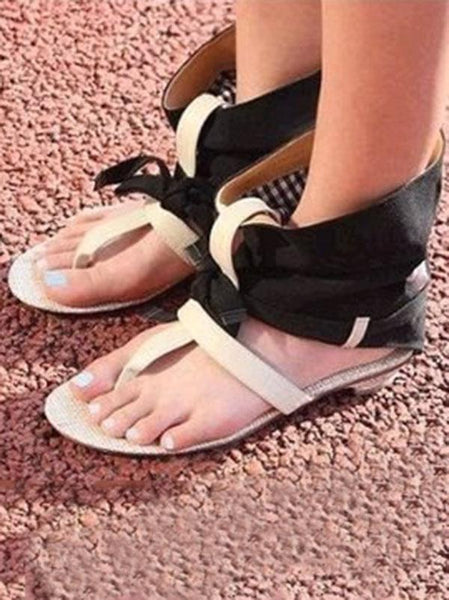 Summer Open Toe Bandage Flat Sandals Shoes