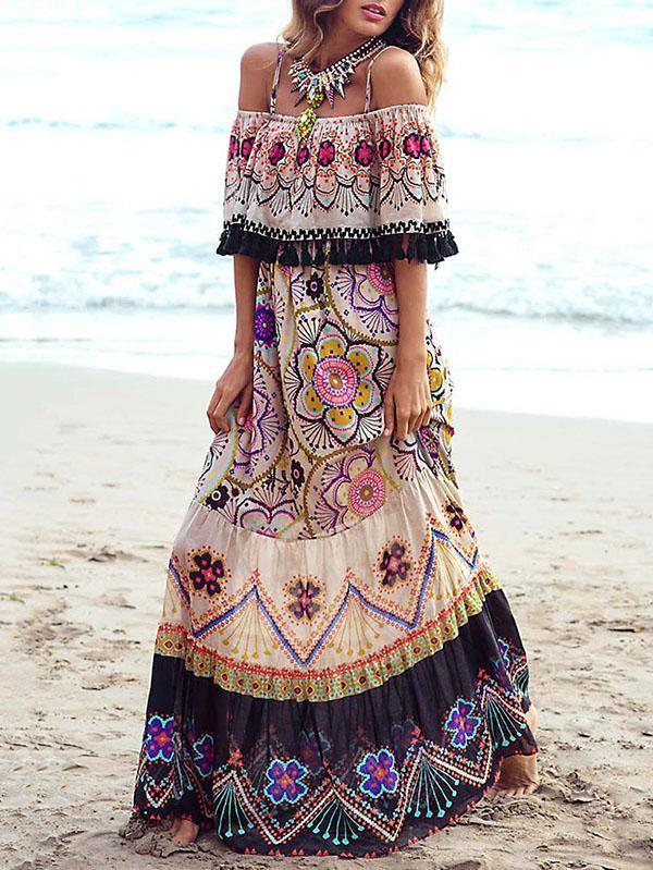 Flower Print Off Shoulder Tassel Bohemia Maxi Dress