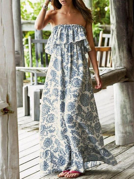 Sexy Printed Off Shoulder Loose Casual Boho Beach Maxi Dress
