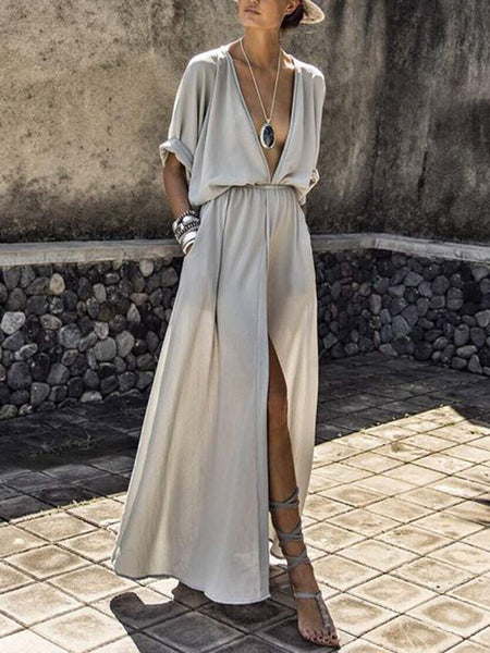 Solid Color V Neck Short Sleeve Split Maxi Dress